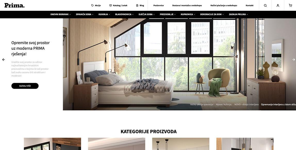 Prima namještaj screenshot webshopa - naslovna stranica
